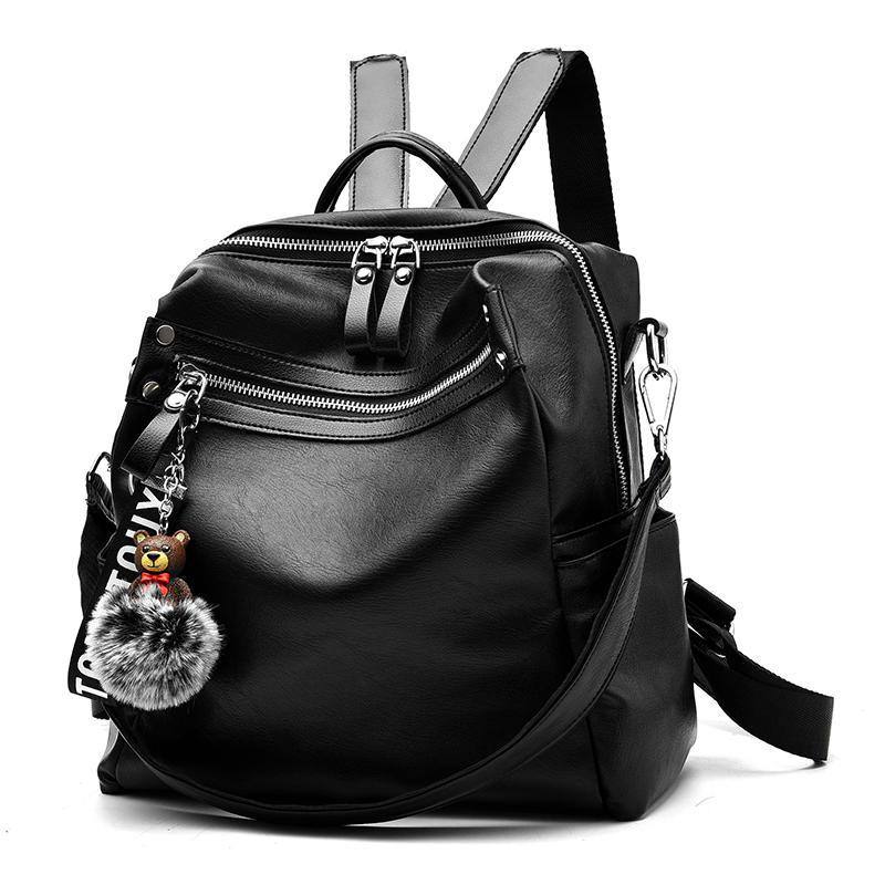Женский средний рюкзак 28х31х12 см чёрный 4096-1