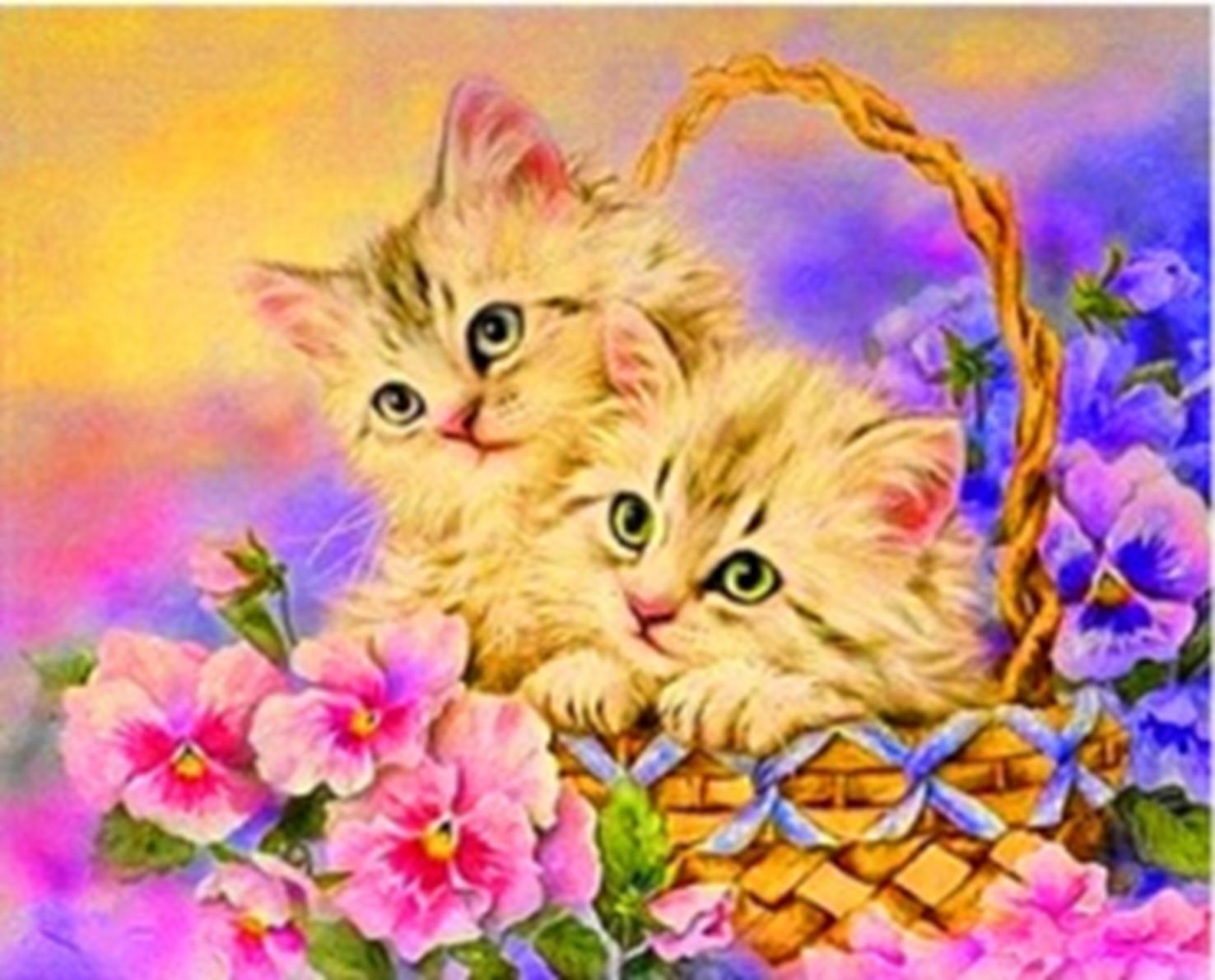 Картина раскраска по номерам 30x40 Котята в корзинке (арт ...