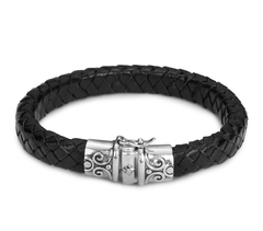 Браслет Nialaya Black Leather Bracelet with Vintage Silver Lock из натуральной кожи