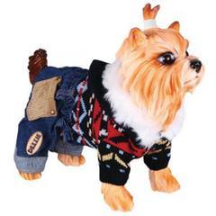 Свитер для собак, DEZZIE, вязаный с капюшоном и синие джинсовые шорты, 25 см