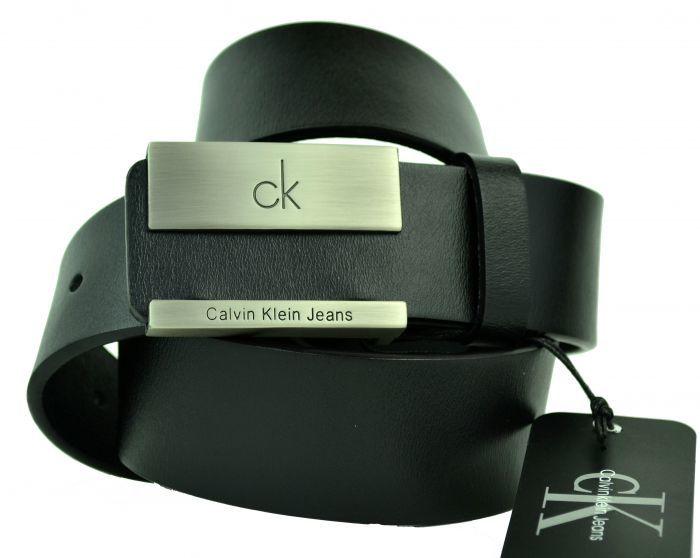 Ремень мужской из кожи для джинс чёрный Calvin Klein (копия) 40brend-KZ-144