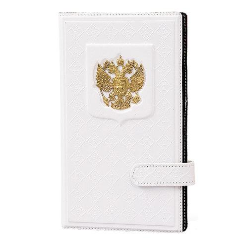 Визитница настольная кожаная «Россия с гербом» белая А60504