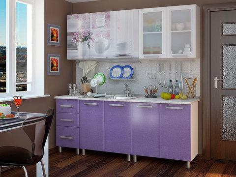Кухня 2,0м Люкс Акварель БТС Белый/фотопечать