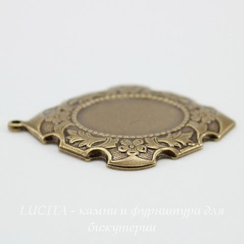 """Сеттинг - основа - подвеска """"Цветы"""" для камеи или кабошона 18х13 мм (оксид латуни)"""