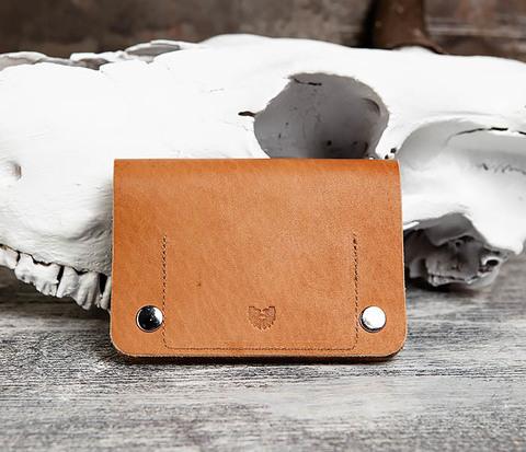 Классный мужской кошелек ручной работы из рыжей кожи