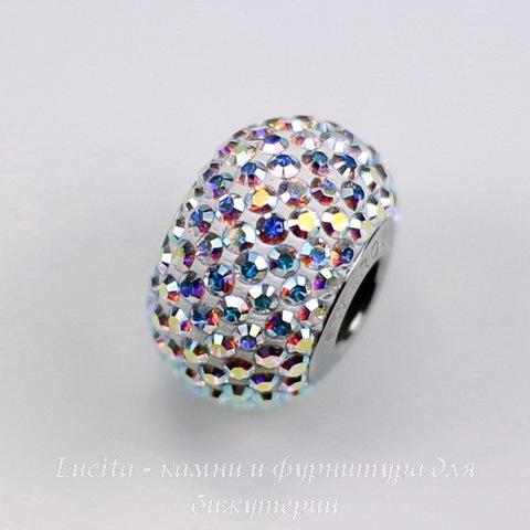 80101 Бусина Сваровски BeCharmed Pave Crystal AB 14х9 мм