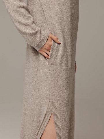 Женское платье песочного цвета с разрезами из шерсти и кашемира - фото 4