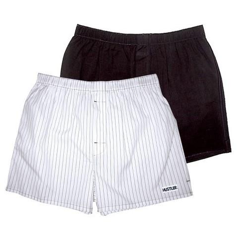 Мужские хлопковые трусы-шорты HUSTLER черные и белые