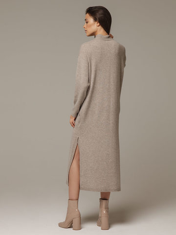 Женское платье песочного цвета с разрезами из шерсти и кашемира - фото 3