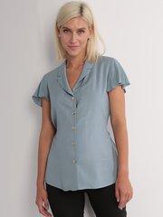 Евромама. Блуза для беременных и кормящих штапель в горошек, серо-голубой
