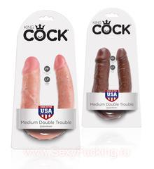 Двойной дилдо King Cock U-Shaped Medium Double Trouble (цвета в ассортименте)(34,5 cv)