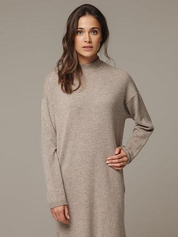 Женское платье песочного цвета с разрезами из шерсти и кашемира - фото 2