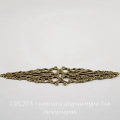 Винтажный декоративный элемент - филигрань 64х21 мм (оксид латуни)