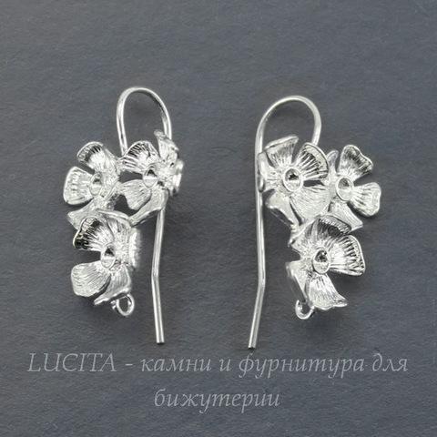 """Швензы - крючки """"Три цветка"""" (цвет -  серебро) 24х18 мм"""