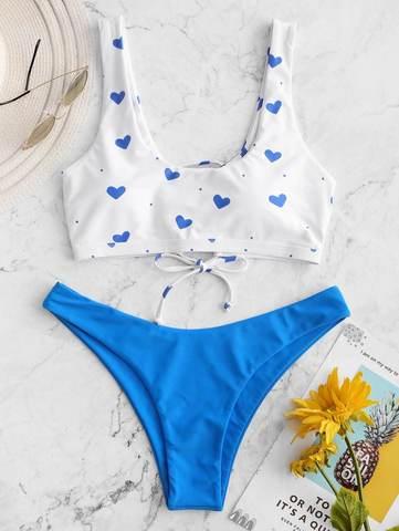 купальник раздельный с лямками голубой синий белый сердце