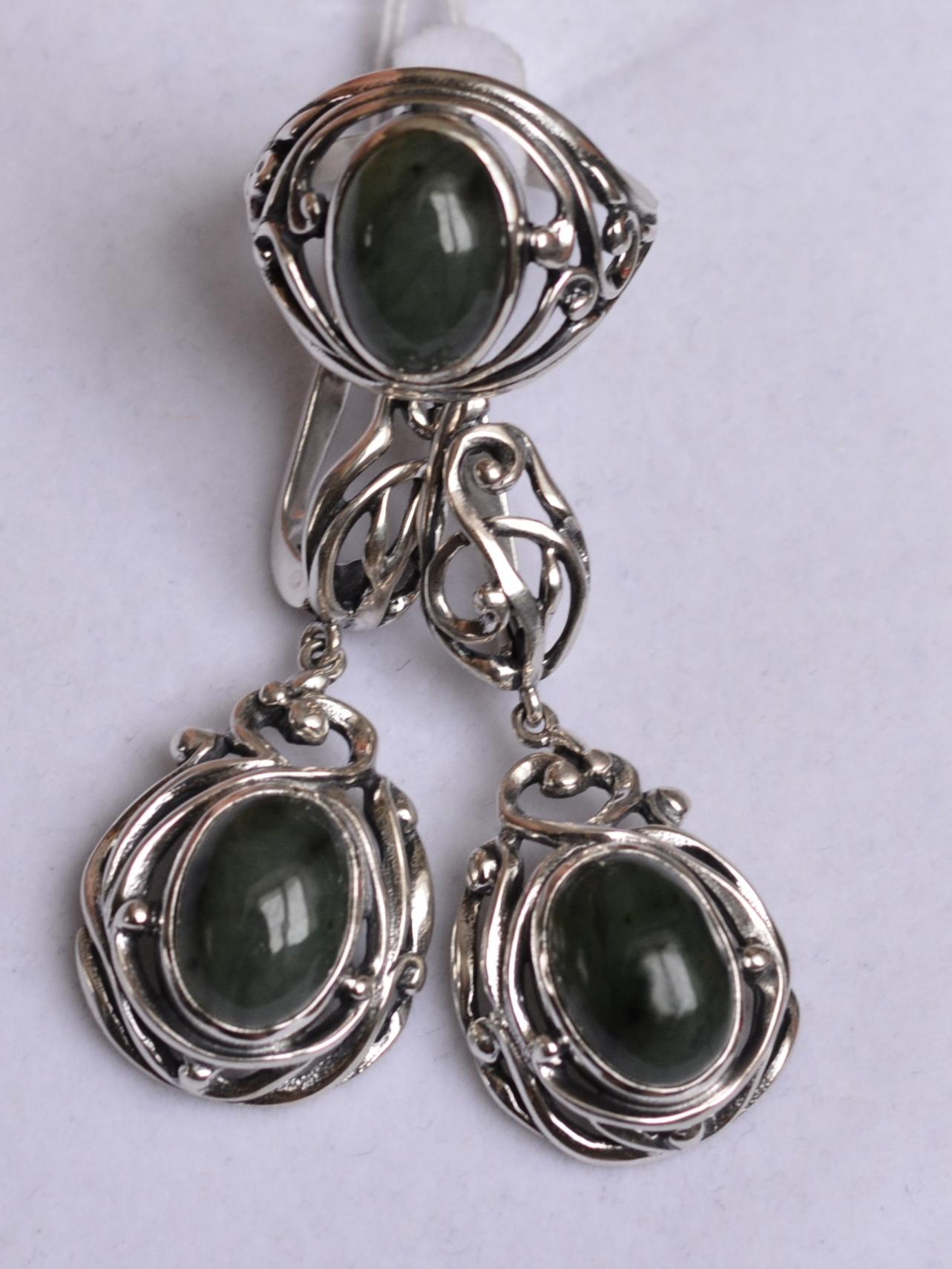 Гелика (кольцо + серьги из серебра)