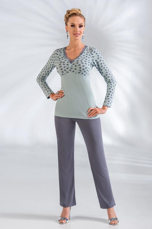 Мятная пижама женская из вискозы (Домашняя одежда больших размеров)