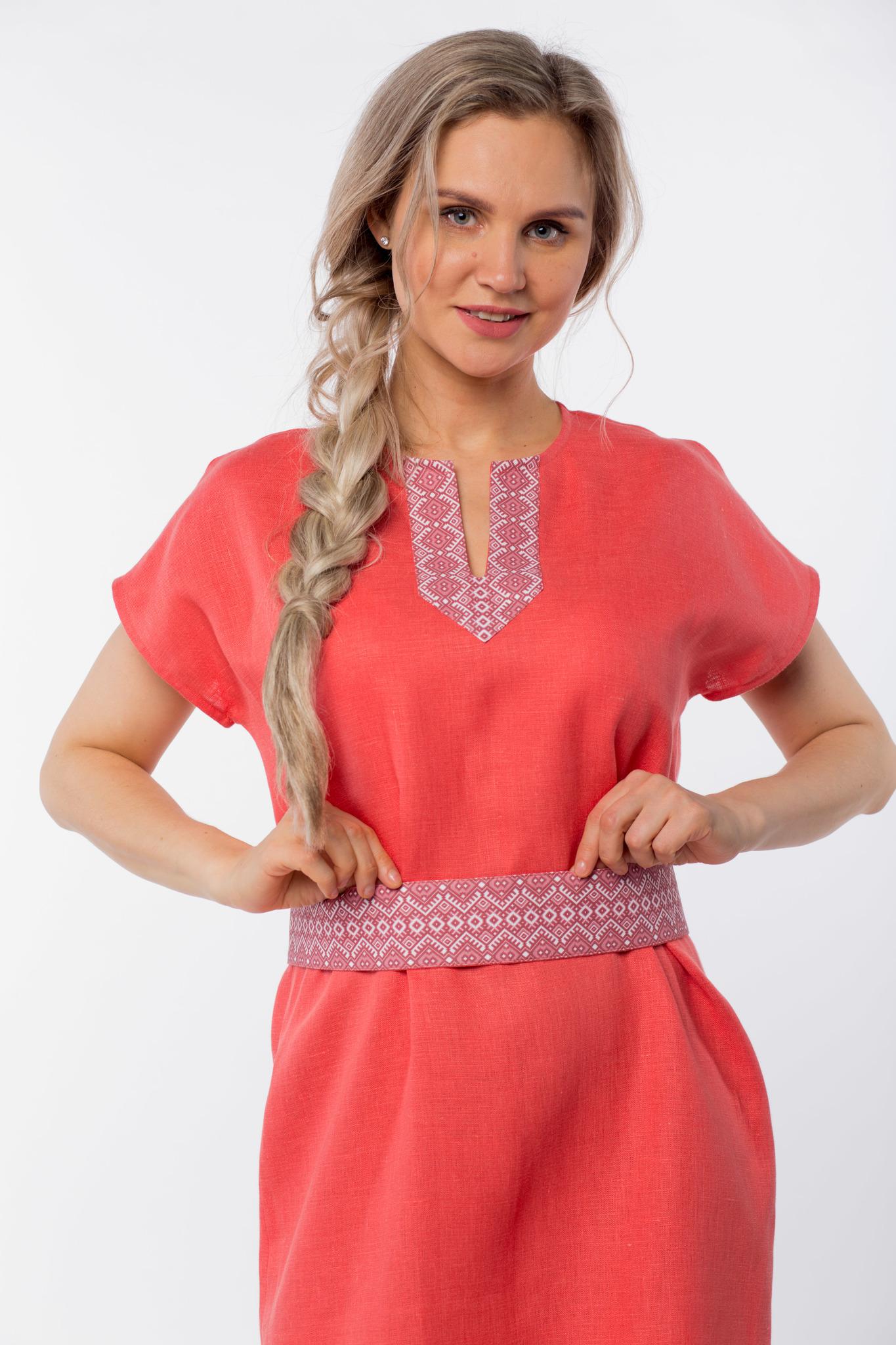 Платье льняное Шафран приближенный фрагмент