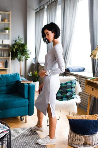 Платье Виктори Серый меланж с секретом для кормления