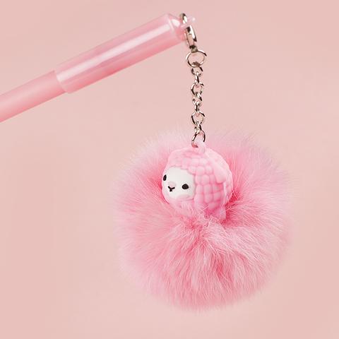 Ручка Pompon Lama Pink черная гелевая