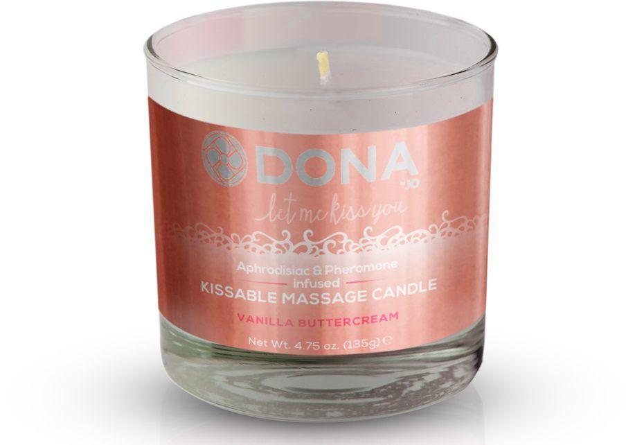 Массажные масла и свечи: Массажная свеча DONA Vanilla Buttercream с ароматом ванильного крема - 135 гр.