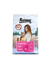 Корм для взрослых кошек, Karmy Sensitive, в возрасте старше 1 года, с чувствительным пищеварением, с индейкой