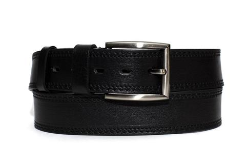 Мужской ремень из натуральной кожи Doublecity RD45-03-01  гладкий с отделочной строчкой и с металлической пряжкой  цвет черный