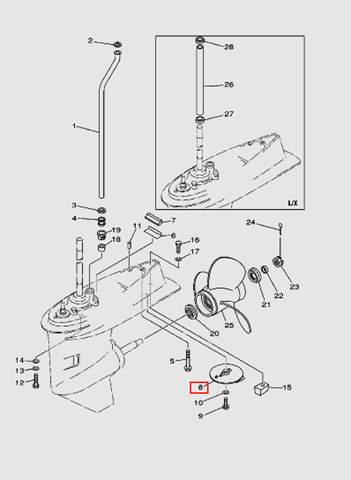 Анод с плавником для лодочного мотора T40 Sea-PRO (24-8)