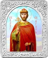 Святой Игорь. Маленькая икона в серебряной раме.