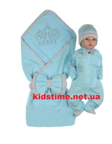 Комплект на выписку для мальчика летний Little king голубой