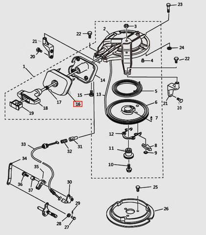 Бампер ручки стартера для лодочного мотора T9.8 Sea-PRO (7-16)