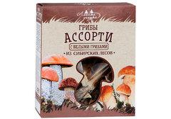 Ассорти сушеных грибов с белые грибами