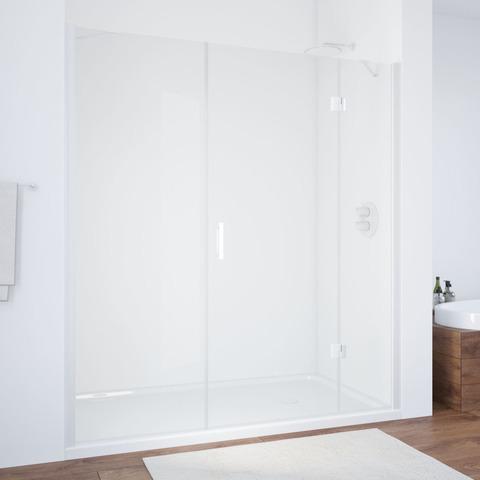 Душевая дверь в нишу Vegas Glass AFP-F профиль белый, стекло прозрачное