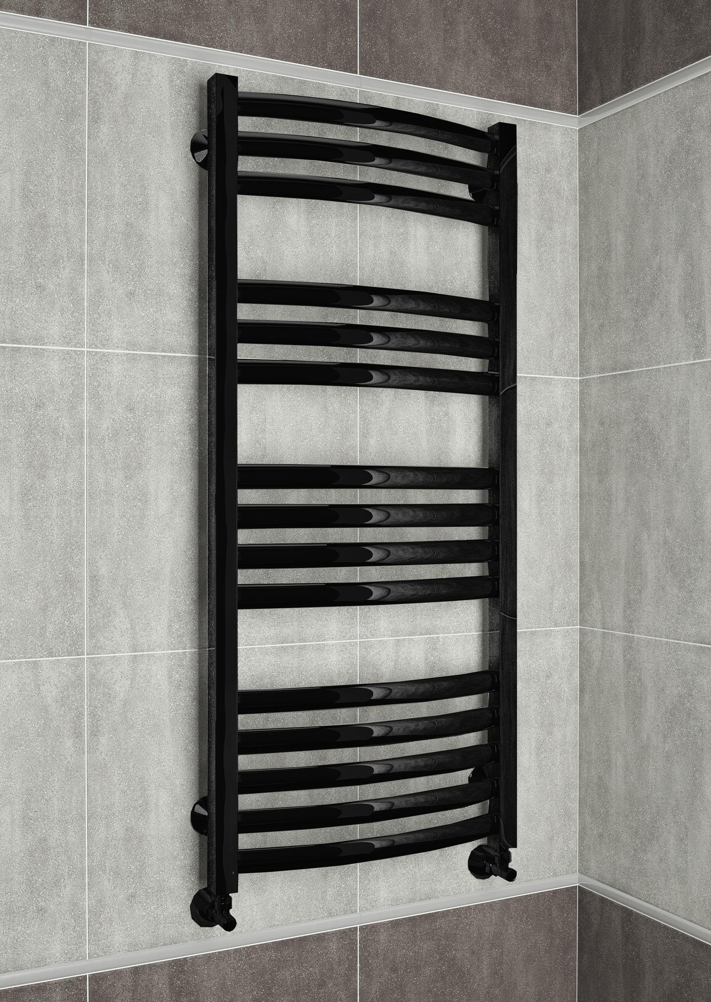 Palermo E - электрический дизайн полотенцесушитель черного цвета.