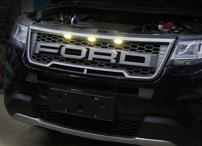 Решетка радиатора с подсветкой (Raptor F150) для Ford Explorer 2015- auto car led daytime running lights for ford raptor f150 drl 2009 2014 white style turn signal yellow style fog light lamp cover
