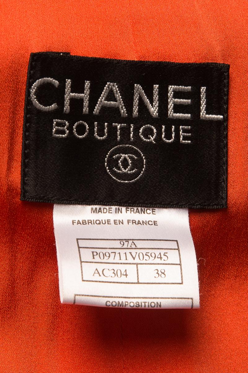 Удлиненный жакет из твида темно-синего цвета с оригинальным декором от Chanel, 38 размер.