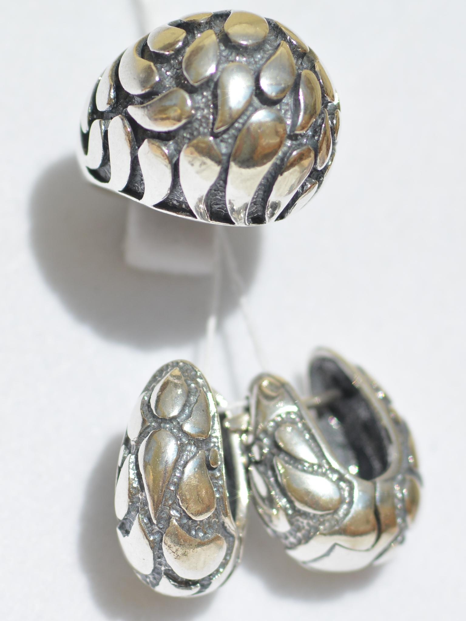 Зульфия (кольцо + серьги из серебра)