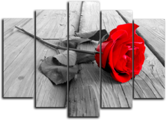 """Модульная картина """"Красное на черно-белом"""""""