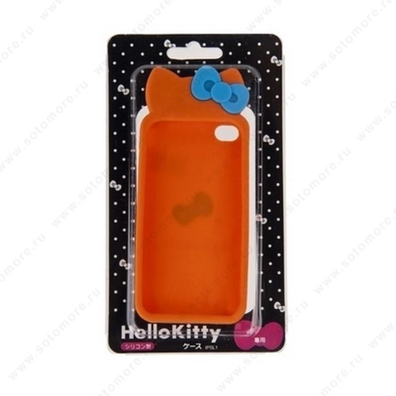 Накладка Hello Kitty силиконовый для iPhone 4s/ 4 бантики оранжевый