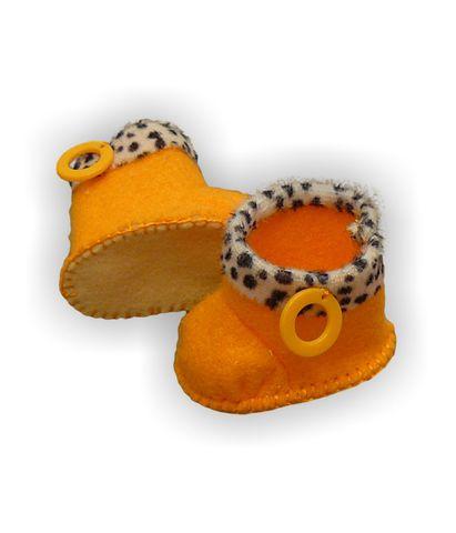 Сапожки с отворотом - Оранжевый. Одежда для кукол, пупсов и мягких игрушек.