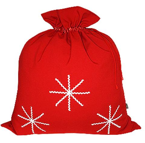Подарочный мешок с белыми снежинками красный