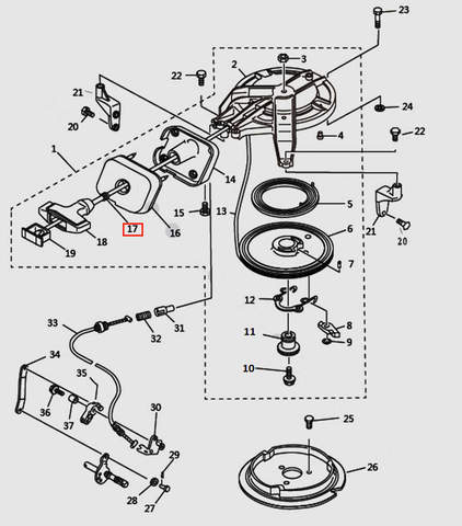 Демпфер ручки стартера для лодочного мотора T9.8 Sea-PRO (7-17)