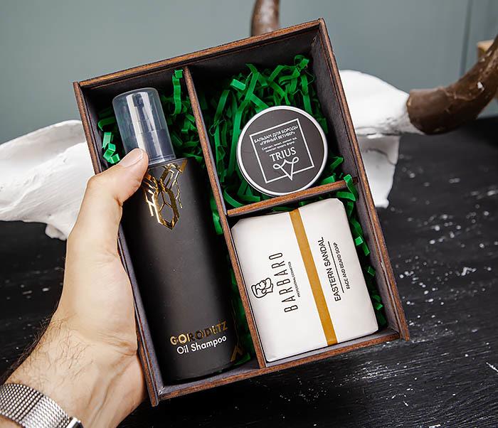BOX245-1 Деревянная подарочная коробка с тремя отделениями, А6 (19*15*8,5 см) фото 06