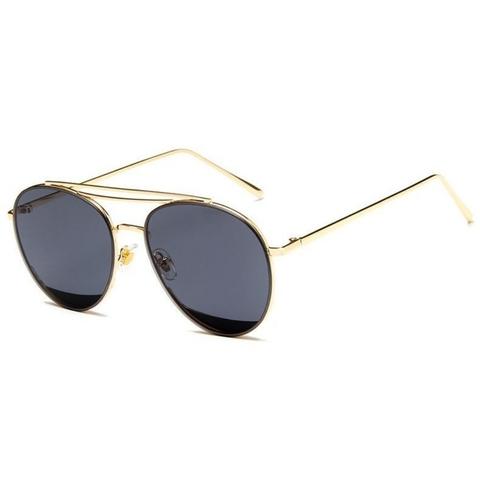 Солнцезащитные очки 9202003s Черные в золотой оправе - фото