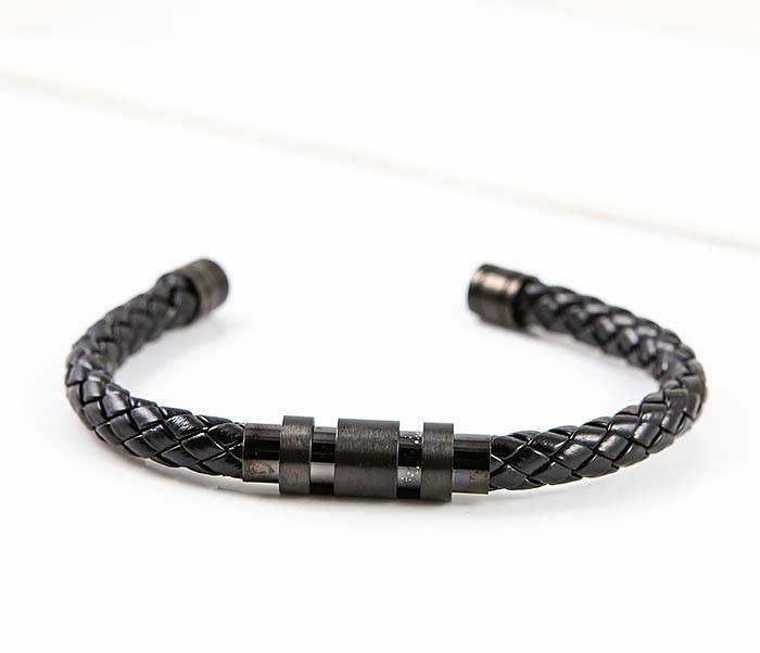 BM559-1 Браслет наручник из шнура черного цвета фото 04