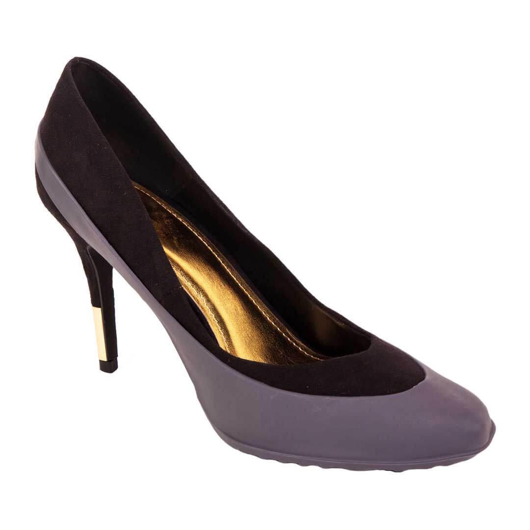Серые галоши женские для обуви на каблуке
