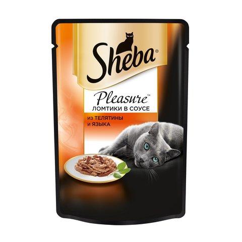 Sheba Pleasure пауч для кошек ломтики в соусе телятина и язык 85 г