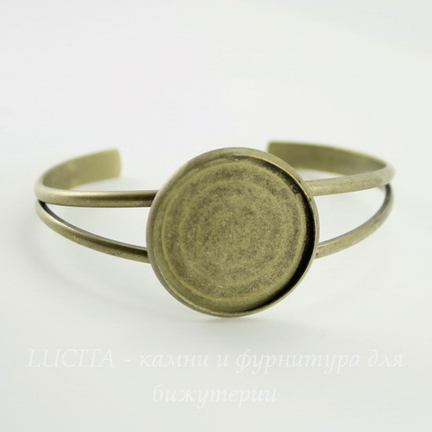 Основа для браслета с сеттингом для кабошона 27 мм (цвет - античная бронза) 67х59 мм