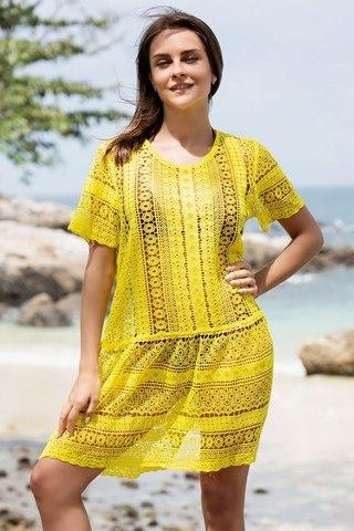 Красивая ажурная туника Jamaica желтая