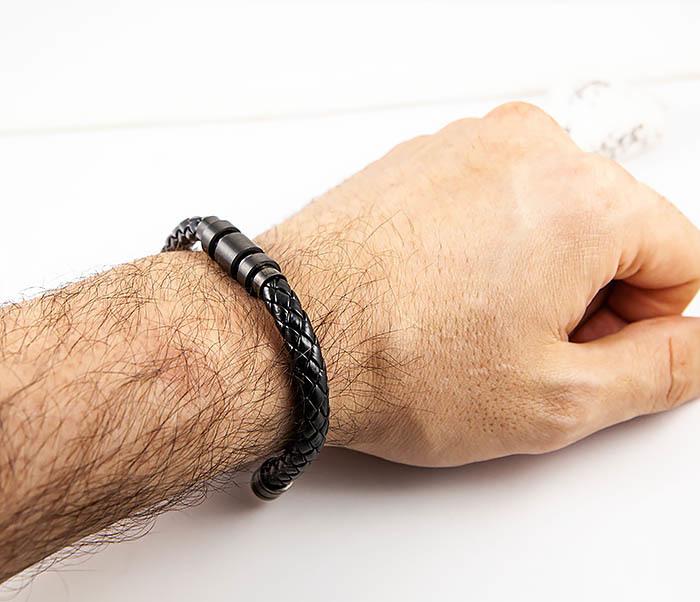 BM559-1 Браслет наручник из шнура черного цвета фото 07